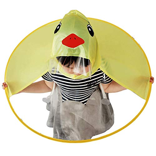 Cute Kid's Duck Raincoat Children Umbrella Cartoon Cloak Hooded Raincoat for Boys Girls (S) Yellow