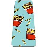 Eslifey, tappetino da yoga con motivo patatine fritte e patatine fritte, spesso antiscivolo, tappetino da yoga per donne e ragazze, morbido tappetino da pilates, (182,9 x 61 cm, spessore 1/4 cm)