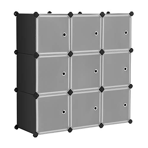 SONGMICS Cube Storage Organizer, 9-Cube DIY Plastic Closet Cabinet, Modular Bookcase, Storage Shelving with Doors for Bedroom, Living Room, Office, 36.6 x 12.2 x 36.6 Inches, Black ULPC33HV1