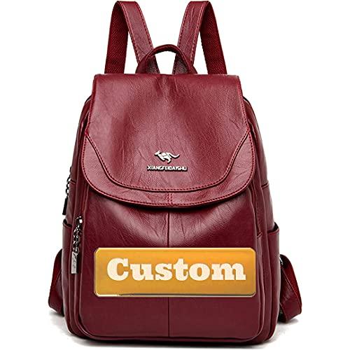 Claiyi Nombre Personalizado Mochila Ligera Mochila Convertible para Mujer Bolsa de Hombro para el Cuero PU de la PU (Color : Rojo, Size : One Size)