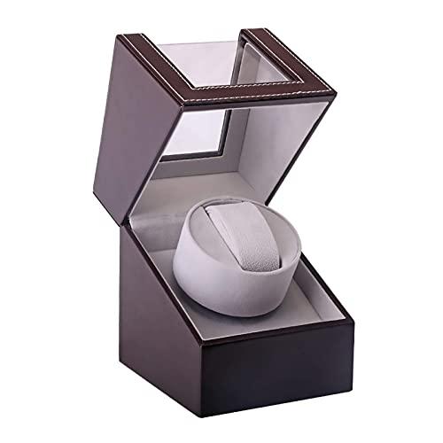 DFJU Enroladores de relógio marrom Preto de posição única caixa de enrolamento de relógio mecânico agitador de relógio Porta-enrolador de exibição de armazenamento de joias Simples