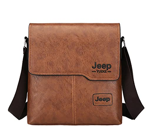 Leuchtbox JEEP YUEKE Urban City Bag Jet Age Sac bandoulière pour homme Design pour le travail, l'université et les loisirs - Marron - marron clair, Taille unique