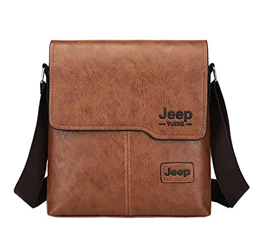 Leuchtbox JEEP YUEKE Borsa a tracolla da uomo Messenger, Urban City Bag Jet Age Design per lavoro, università e tempo libero, Marrone (marrone), Taglia unica