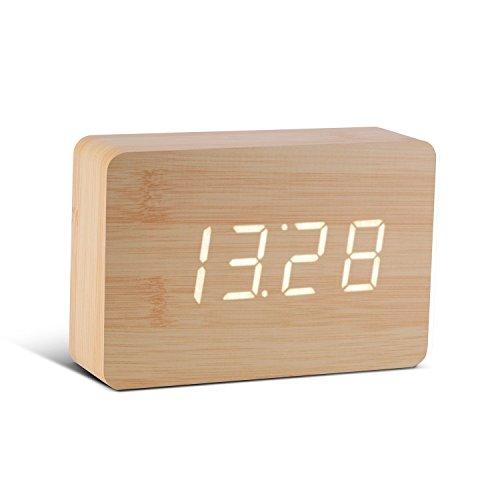 Gingko GK15W11 Digitaluhr 'Click Clock' Ziegelsteinform, Buche mit weißer LED-Anzeige