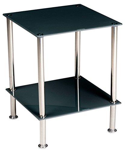 Stylehome Tavolino in Vetro temperato e Acciaio Quadrato da Salotto Camera da Letto 40x40x50 cm Doppio ripiano Grigio B36