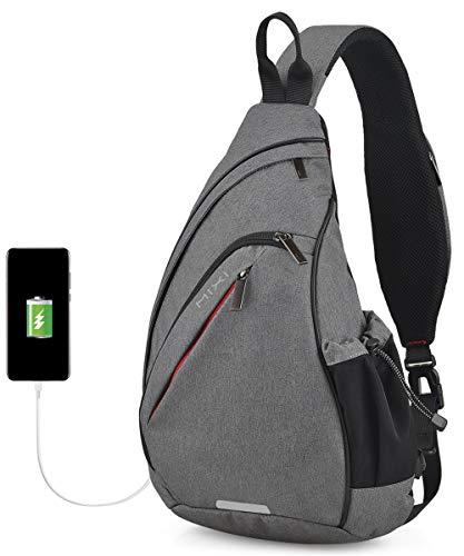 Hanke Sling Bag with USB Port Water Resistant Mens Sling Backpack Multipurpose Crossbody Shoulder Bag Chest Bag-17 inch,Grey