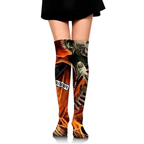 Hdadwy Halloween Zombie Feuerwehrmann Gruselige gruselige Knöchelstrümpfe über dem Knie Womens Sports Athletic Soccer Socks