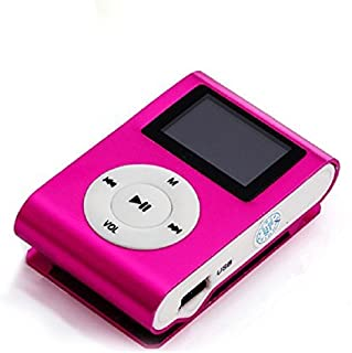 Sannysis Mini USB Clip MP3 Player LCD Screen Support 32GB Micro SD TF Card (Hot Pink)