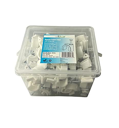 Clips de cable redondos blancos K-Type Caja comercial, 16 mm - 130 piezas