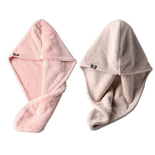 WFF sombrero Sombrero de pelo seco de la toalla de pelo, rosa + turbante beige 2 pack, toalla de pelo de microfibra, súper absorbente, toalla de secado del cabello con botón, tapa de baño envuelto gor