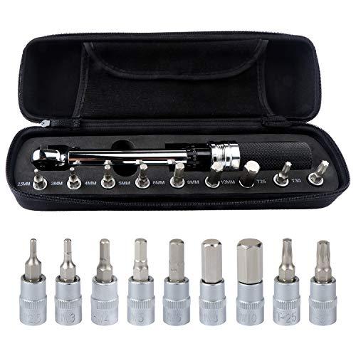 Hseamall 1/4-Zoll-Drehmomentschlüssel-Set, 1-25 Nm Fahrrad-Drehmomentschlüssel, Fahrrad-Reparaturwerkzeug, Torx und Innensechskant