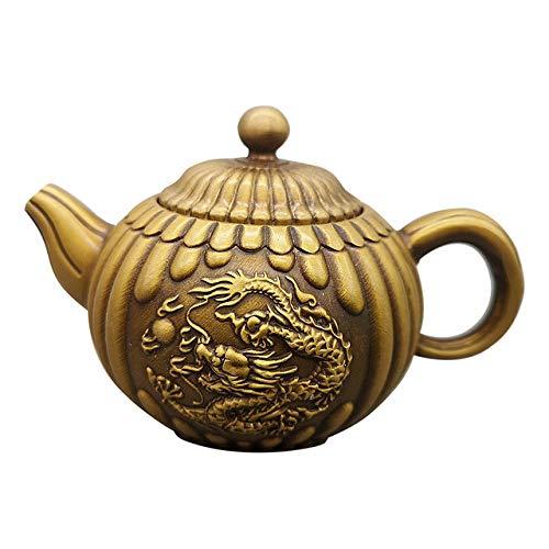 LISAQ Tetera de dragón de latón, Tetera de Cobre, Tetera de dragón Doble, decoración Artesanal, Tetera Antigua, decoración del hogar