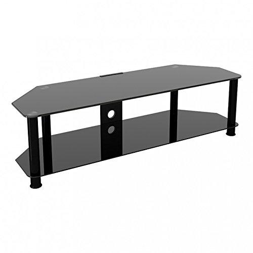 King Mesas de TV de Cristal, de Cristal Negro Gabinete Mueble Plataforme...