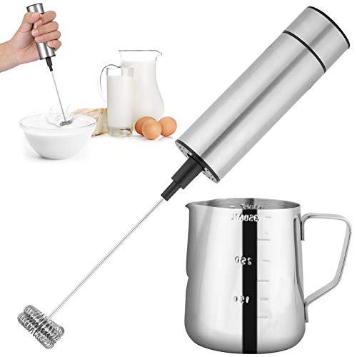Yarlung Espumador de leche de acero inoxidable y jarra de espumador de leche de 12 onzas, máquina de espuma manual a pilas, batidor de bebidas para café, latte, capuchino, frappe, matcha, chocolate caliente