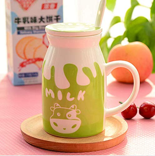 qnmbdgm Mok Beker Keramiek Mok Been China Mok Creatieve Stijl Populaire Jonge Mensen Drinkware Kleurrijke Keramische Melk Cup Koffie Mokken Met Lepel Deksel Aanbieding Keukengerei Mokken