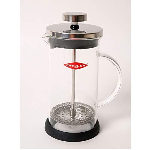 Oroley - Cafetera Francesa Spezia | de Émbolo | de Acero Inoxidable y Cristal | 3 Tazas | Para Cafe y Te | 350ml