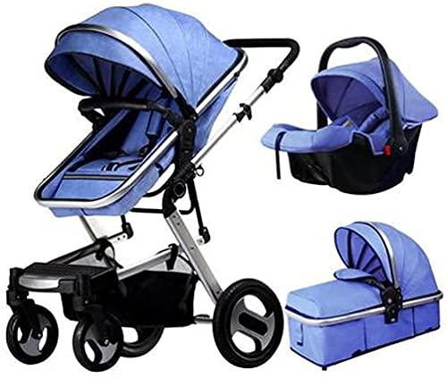 LOXZJYG 3 in 1 Stroller Foldable Luxury Baby Stroller Anti-Shock Springs High View Pram Baby Stroller 3 in 1 with Baby Basket (Color : Default)