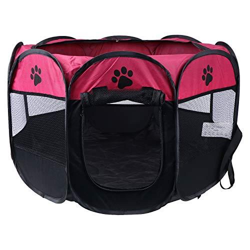KEESIN Faltbarer Haustiere Laufstall, 8 Teiliges Netz Haus Welpenzelt Zwinger für Hund Katze Kaninchen Kleintiere (73 * 73 * 43cm, Rose)