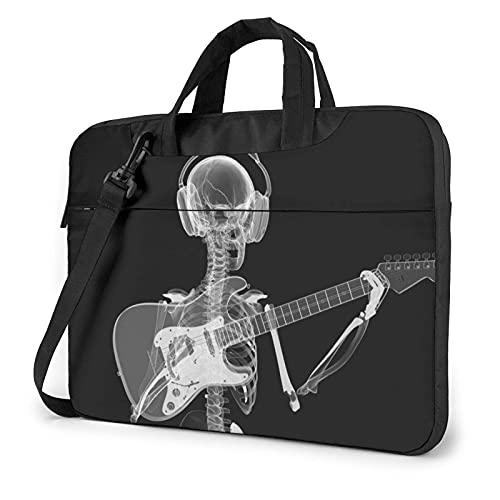 Tcerlcir Elegante bolso para portátil,bandolera,bandolera,estuche,abstracto,rayos X,calavera,esqueleto,tocando la guitarra,impreso,a prueba de golpes,multifunción,maletín para computadora portátil