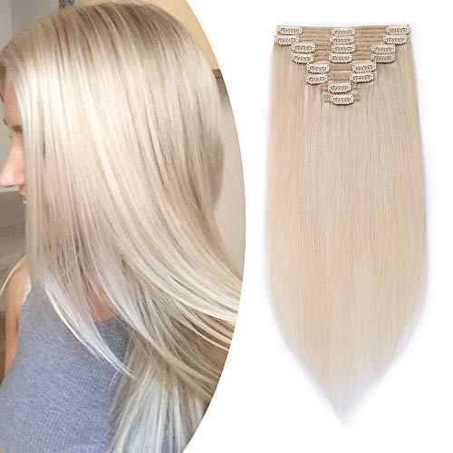 Clip in extensions echthaar dick Echthaar Extensions 8 teiliges set Haarverlängerung Doppelt Tressen (40cm-130g,#70 Weiß bleichen)