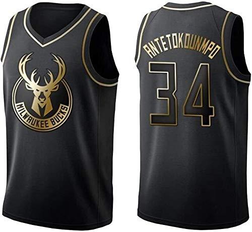 Giannis Antetokounmpo # 34 Milwaukee Bucks de Baloncesto de los Hombres de Jersey, Negro y Oro Jersey Transpirable Tela Camiseta sin Mangas-XL (Size : Large)