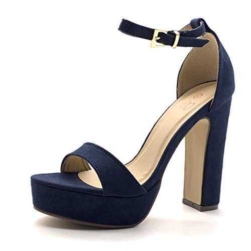 Angkorly - Damen Schuhe Pumpe Sandalen - High Heel - Plateauschuhe - Offen - Einfach Basic - Basic - String Tanga Blockabsatz high Heel 13.5 cm - Marineblauen 059 T 39