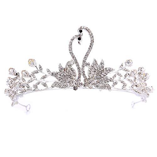 Ouuager-Home Krone Stirnband Romantisches Haar Hochzeit Zubehör Luxuxkristallglas Brautkrone Strass Tiaras for die Braut-Festzug-Kronen-Kopf Schmuck Haar-Verzierung Königin-Krone