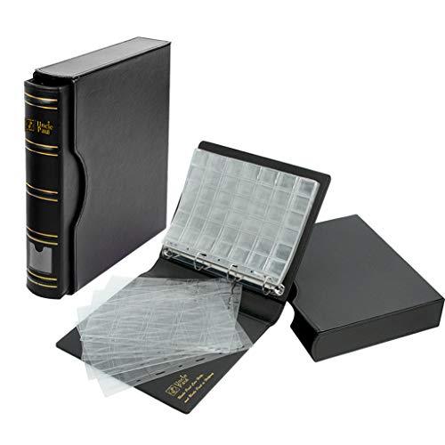 Bc01 Uncle Paul - Raccoglitore per monete con custodia, 4 dimensioni, 4 pagine assortite, 12 pagine per collezionare, tutto in uno con 4 anelli, 24,4 x 30 cm