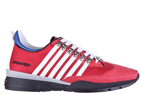 Dsquared2 scarpe sneakers uomo in pelle nuove tessuto tecnico 251 rosso
