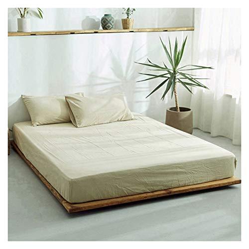 LJP Mattress Cover Cotton Lightweight Fitted Bed Cover Washable Non Slip Mattress Encasement Breathable Durable No Fade (Color : Beige, Size : 150x200cm)