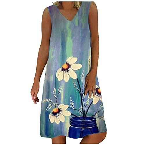 Vestido de verano para mujer, elegante, largo hasta la rodilla, estampado vaquero, bohemio, para la playa, sin mangas, cuello en V, estilo bohemio, informal, vestido de playa azul claro M