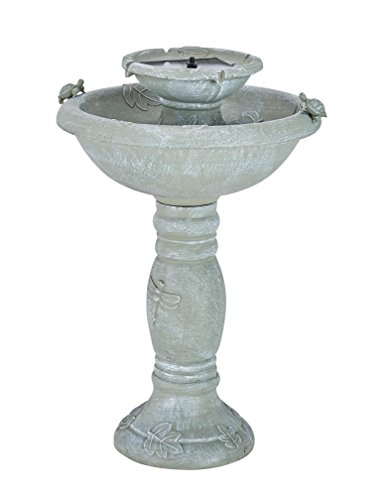Smart Solar 34222RM1 Gray Weathered Stone Country Gardens 2-Tier Solar-On-Demand Fountain, Designed for Low Maintenance and Requires No Wiring or Operating Costs,Medium