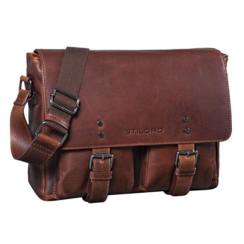 STILORD 'Hunter' Leather Briefcase 13 inch laptoptas vintage schoudertas voor heren dames businesstas echt leer, Kleur:mokka - donkerbruin