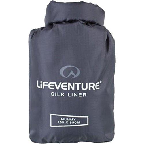 Lifeventure Silk Sleeping Bag Liner, Rectangular (Grey) Doublure de Sac de Couchage Unisex-Adult