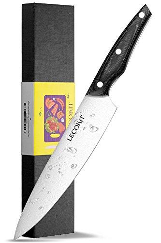 LECOKIT Profi 20cm Küchenmesser | Chefmesser Kochmesser Allzweckmesser | aus hochwertigem Rostfreier Stahl | Extra Scharfe Messerklinge |Ergonomischer Komfort Holz-Griff
