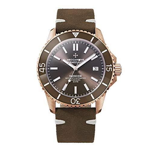 Meccaniche Veneziane Reloj de buceo automático Nereide para hombre oro rosa PVD marrón 1302016
