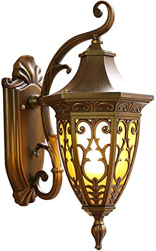 Sombra de pared exterior de la vendimia antigua luz de la linterna de oro color del metal de cristal clara En Victoriano 1xE27 60W 220V IP44