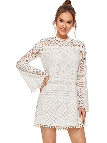 SheIn Women's Crochet Pom-Pom Sheer Lace Bell Sleeve Dress X-Small Off White