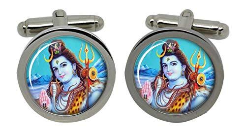 Boutons de manchette pour homme avec Shiva-Chromé-Coffret cadeau