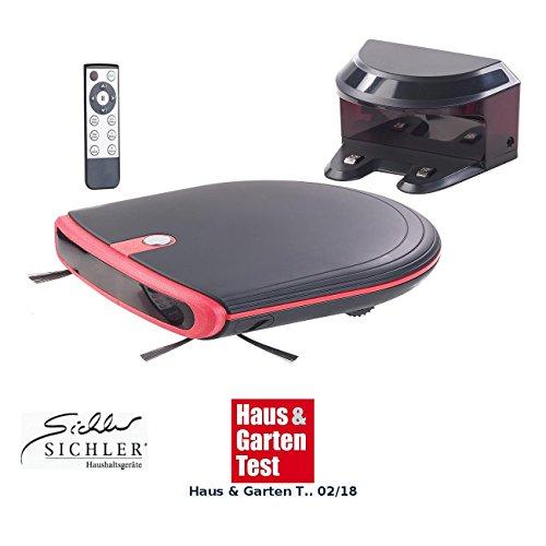 Sichler Haushaltsgeräte Saugroboter: Ultraflacher Reinigungs- & Staubsauger-Roboter, 120 Min. Akku-Laufzeit (Reinigungs und Saugroboter)