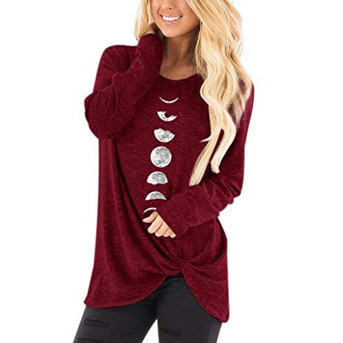 Bumplebee T-Shirt Femme Haut en Vrac Grande Taille Tuniques à Manches Longues O-Cou Pull Casual Lune Imprimé Tee Shirt Top Blouse (124 Vin Rouge,S)