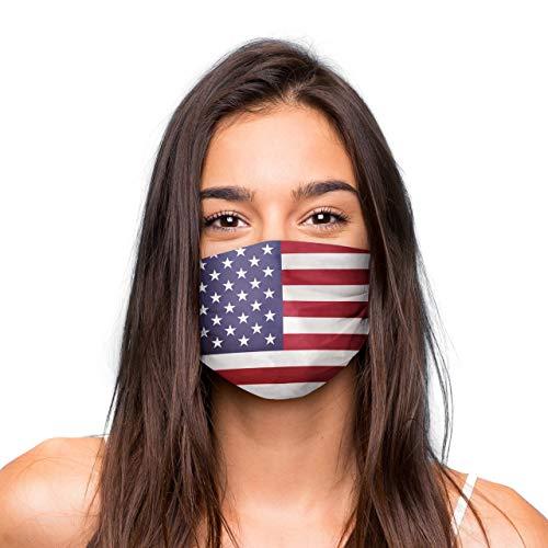 Mund Nasen Maske »USA« waschbar | Wiederverwendbare Gesichtsmaske | Community-Maske in Universalgröße | Alltagsmaske handgefertigt in der EU | in unterschiedlichen Farben, Designs und Motiven