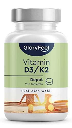 Vitamin D3 + K2 Depot - 200 Tabletten - Premiumrohstoff : K2Vital® von Kappa - 99,7% All-Trans Vitamin K2-MK7 + 5.000 IE D3 - Laborgeprüft, hochdosiert ohne Zusätze in Deutschland hergestellt
