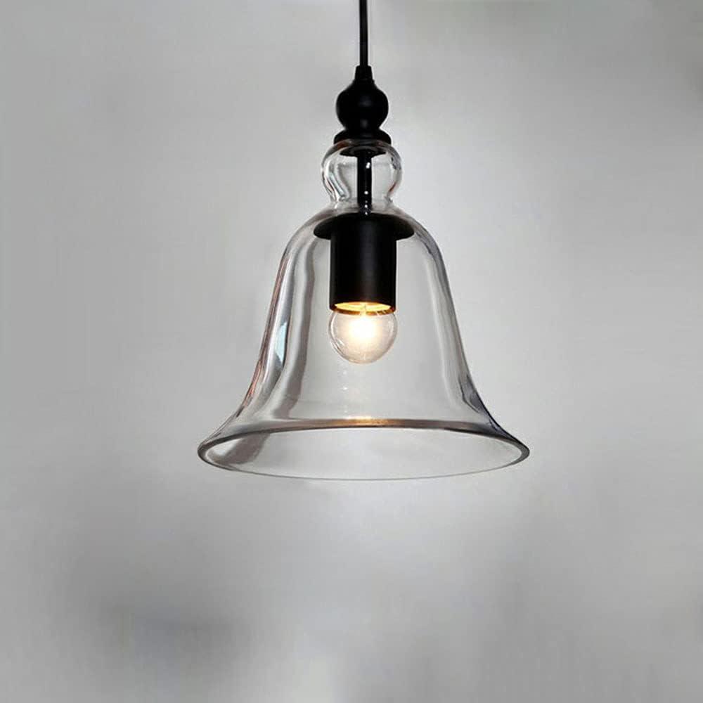 Moddeny Lámpara De Araña Decorativa De Vidrio Moderno E27 Iluminación Colgante Soplada A Mano De Vidrio Transparente En Forma De Campana para Lámpara De Techo De Isla De Cocina, Adecuada para