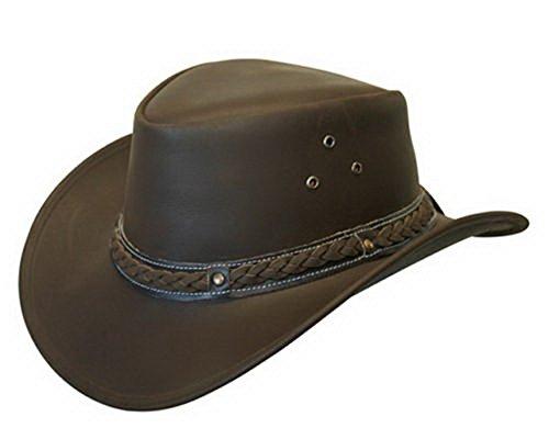 Unisex Marrón Safari de Cuero Arbusto Australiano Cowboy Style Clásico Occidental Outback Sombrero L