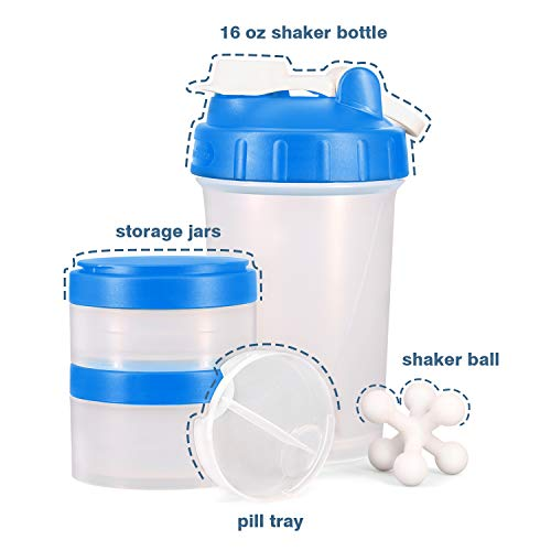 [Promotion] 16 OZ Protein Shaker Bottle with Mixer Ball and 2 Twist n'Lock Storage Jars for Pills, Snacks, Coffee, Tea. BPA Free, Non Toxic and Leak Proof Indoor and Outdoor Fitness Sports Bottle