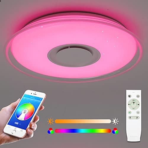 Plafón LED 52W con altavoz bluetooth, 4300 lúmenes Ø55cm, control remoto o APP, cambio de color RGB, Regulable, plafones para salón, habitación infantil, dormitorio, Pasillo