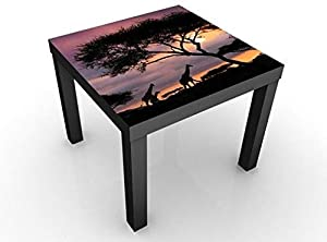 Tavolino Design Safari in Africa 55x55x45cm, Tischfarbe:Weiss;Größe:55 x 55 x 45cm