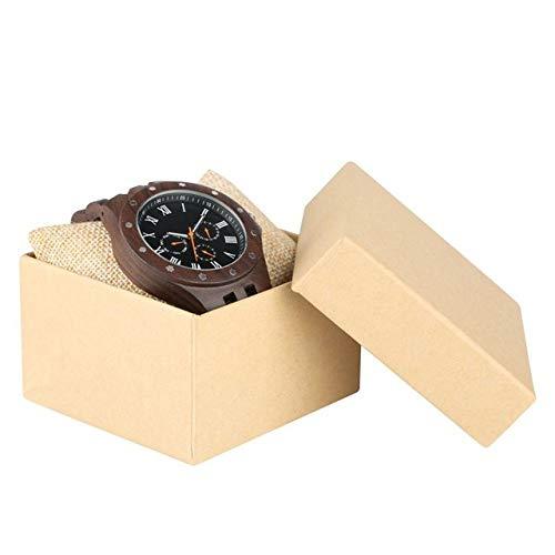 WFE&QFN Hölzerne Uhr Holz Multifunktionsuhr Herren Chronograph Uhr männlich mit voller Ebenholz Holzband Militäruhr Großes Geschenk für Mann, Uhr mit Box