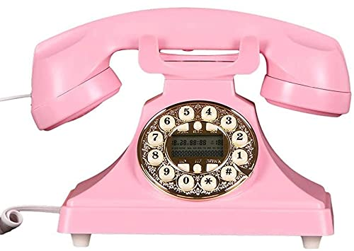 Teléfonos Decorativos Antiguos Teléfonos caseros Europeo Retro Retro VINTURÓN Cambio Completo TELÉFONO Fijo DIAL DIAL Roto (Color : Pink)